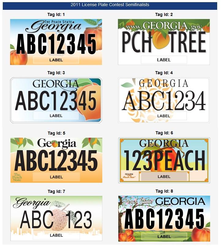 Georgia's 8 license Plate choices